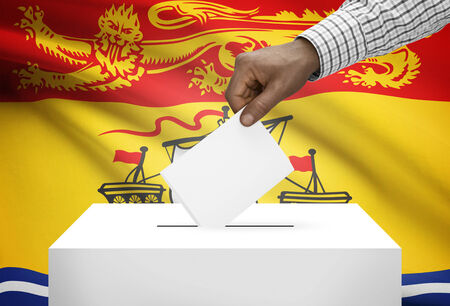electoral system: Voting concept - Ballot box with Canadian province flag on background - New Brunswick