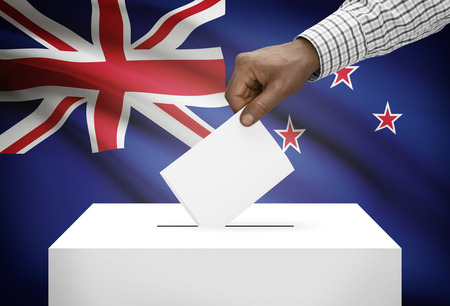 inserting: Ballot box with national flag on background - New Zealand