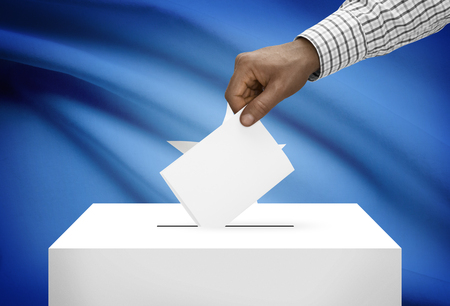 political system: Ballot box with national flag on background - Federal Republic of Somalia Stock Photo