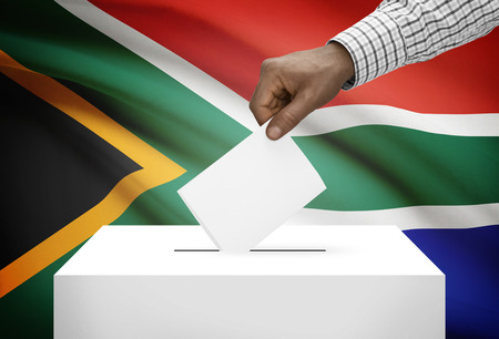electoral system: Ballot box with national flag on background - South Africa