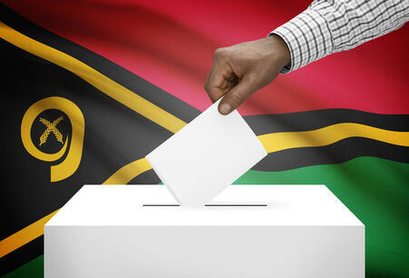 political system: Ballot box with national flag on background - Vanuatu