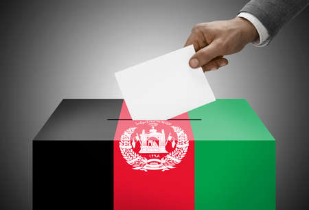 polling booth: Ballot box painted into national flag colors - Afghanistan