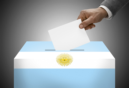 Ballot box painted into national flag colors - Argentina photo