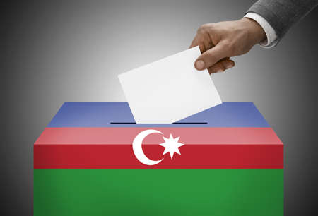 plebiscite: Ballot box painted into national flag colors - Azerbaijan