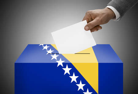 Ballot box painted into national flag colors - Bosnia and Herzegovina photo