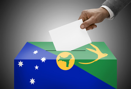 polling booth: Ballot box painted into national flag colors - Christmas Island Stock Photo