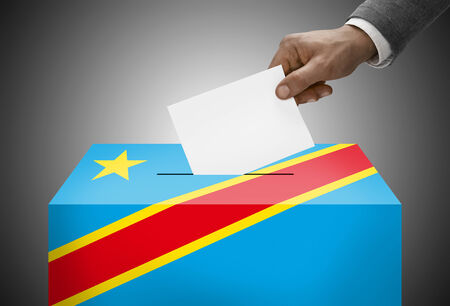 plebiscite: Ballot box painted into national flag colors - Democratic Republic of the Congo - Congo-Kinshasa
