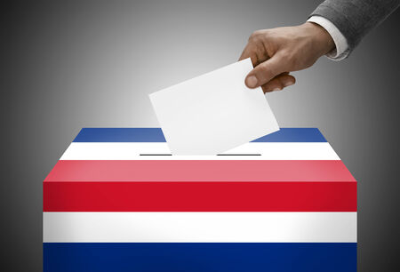 plebiscite: Ballot box painted into national flag colors - Costa Rica Stock Photo