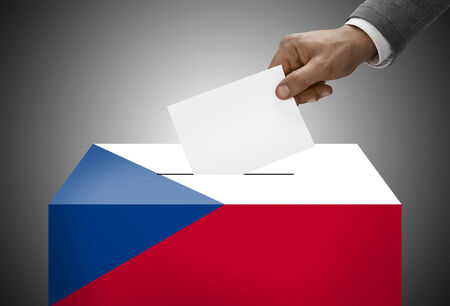 electoral system: Ballot box painted into national flag colors - Czech Republic