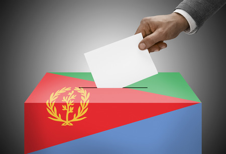 political system: Ballot box painted into national flag colors - Eritrea