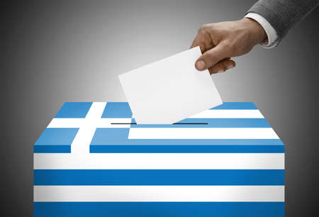 polling booth: Ballot box painted into national flag colors - Greece