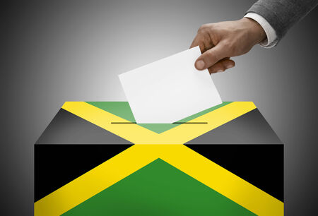 electoral system: Ballot box painted into national flag colors - Jamaica