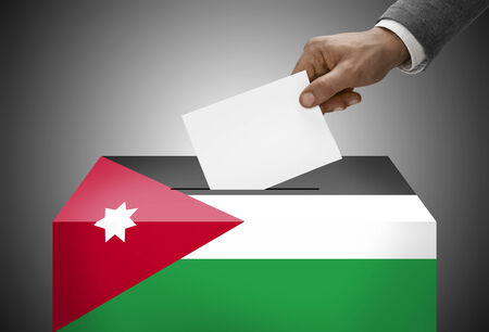 plebiscite: Ballot box painted into national flag colors - Jordan