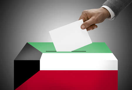 polling booth: Ballot box painted into national flag colors - Kuwait