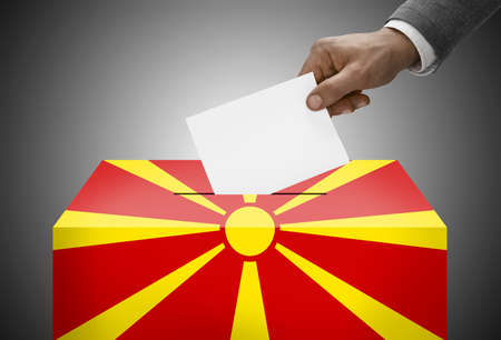 Ballot box painted into national flag colors - Republic of Macedonia