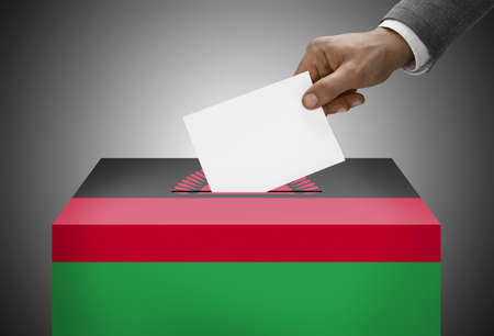 malawian flag: Ballot box painted into national flag colors - Malawi