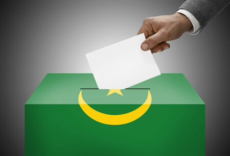 Ballot box painted into national flag colors - Mauritania photo