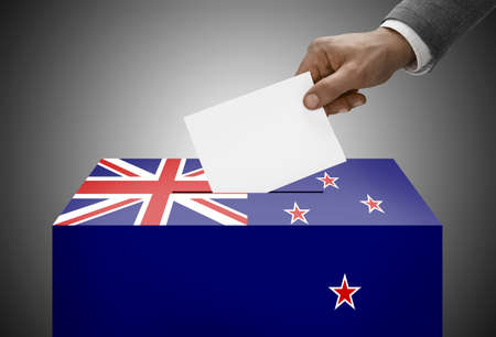 electoral system: Ballot box painted into national flag colors - New Zealand