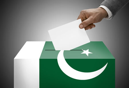 Ballot box painted into national flag colors - Pakistan photo