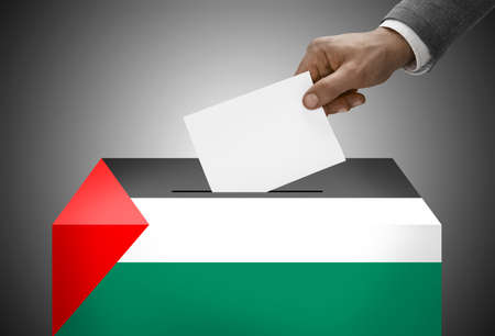 polling booth: Ballot box painted into national flag colors - Palestine