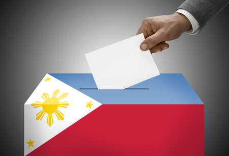 Ballot box painted into national flag colors - Philippines photo