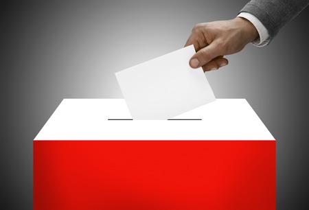 Ballot box painted into national flag colors - Poland photo