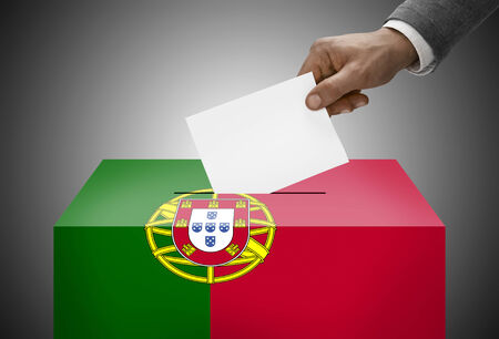 electoral system: Ballot box painted into national flag colors - Portugal