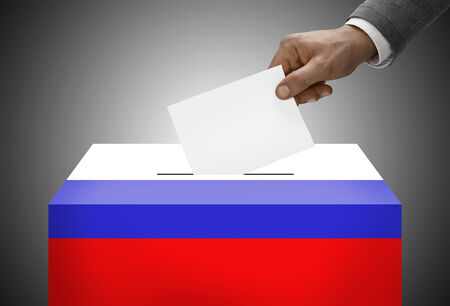 plebiscite: Ballot box painted into national flag colors - Russia