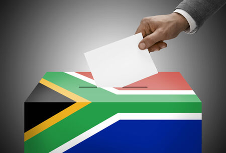 ballot box: Ballot box painted into national flag colors - South Africa