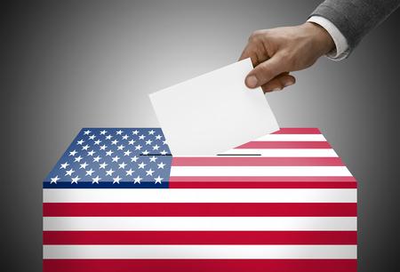 국기 색으로 칠한 투표 용지 상자 - 대한민국