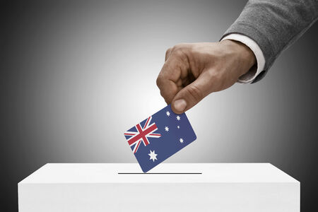 plebiscite: Ballot box painted into national flag colors - Australia Stock Photo