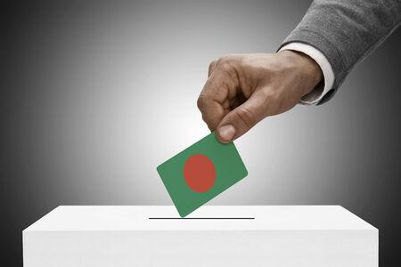 Ballot box painted into national flag colors - Bangladesh Stock Photo