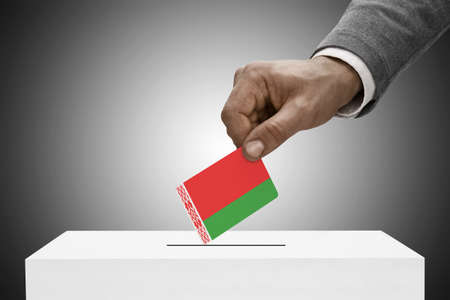elect: Ballot box painted into national flag colors - Belarus Stock Photo