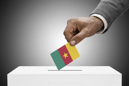 Ballot box painted into national flag colors - Cameroon photo