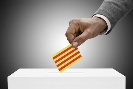 Ballot box painted into national flag colors - Catalonia