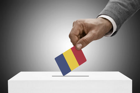 plebiscite: Ballot box painted into national flag colors - Republic of Chad