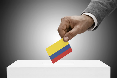 plebiscite: Ballot box painted into national flag colors - Colombia