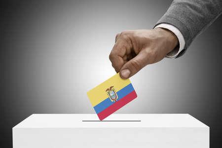Ballot box painted into national flag colors - Ecuador Stock Photo