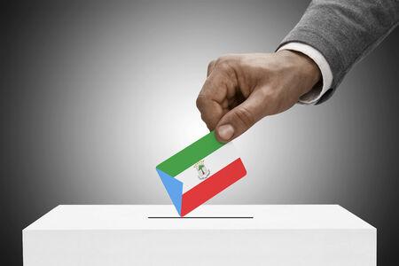 equatorial: Ballot box painted into national flag colors - Equatorial Guinea