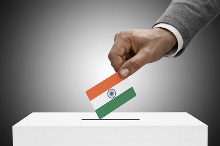 plebiscite: Ballot box painted into national flag colors - India
