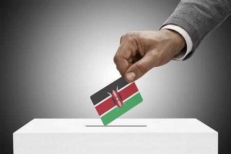 Ballot box painted into national flag colors - Kenya photo