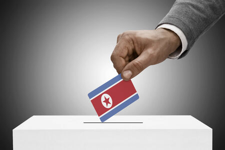 elect: Ballot box painted into national flag colors - North Korea