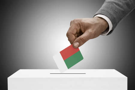 plebiscite: Ballot box painted into national flag colors - Madagascar Stock Photo