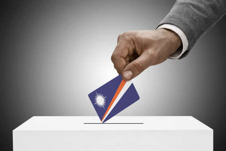 polling booth: Ballot box painted into national flag colors - Marshall Islands Stock Photo