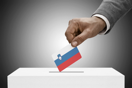 elect: Ballot box painted into national flag colors - Slovenia