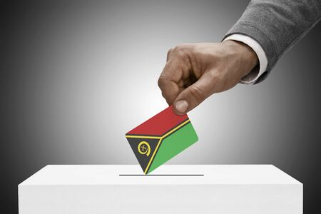 polling booth: Ballot box painted into national flag colors - Vanuatu