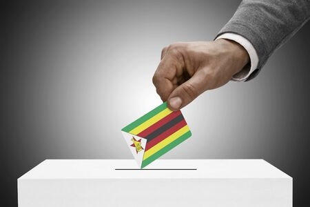 Ballot box painted into national flag colors - Zimbabwe photo