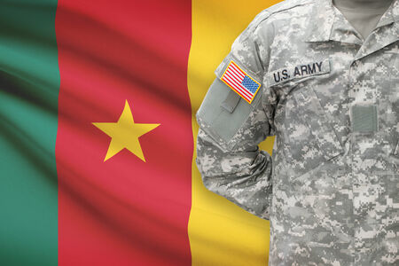 cameroon: American soldier with flag on background - Cameroon