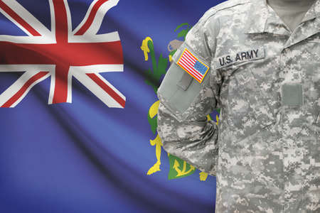 pitcairn: American soldier with flag on background - Pitcairn Group of Islands