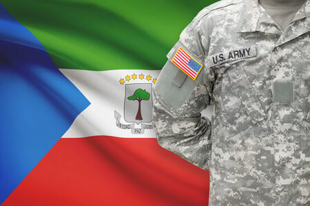 equatorial: American soldier with flag on background - Equatorial Guinea